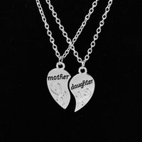 Wholesale Silver Tone Pendant Setting - Mother & Daughter Necklaces Sets( 2 pcs ) For Mothers Day Silver Tone Half Heart Pendent Necklaces Jewelry Gift For Mum
