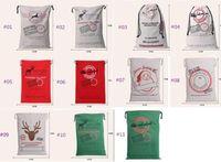Wholesale Rustic Stockings - Gift Bag Christmas 50*70cm 11 styles Red drawstring Canvas Santa Sack Rustic Vintage Christmas stocking bagsDecoration b324