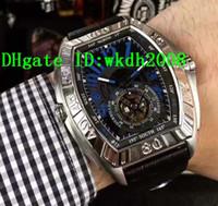 relógio de marca prata venda por atacado-Marca de luxo Esporte Tourbillon Automático Mens Watch Preto / Prata Caso Bezerro Cinta Luminosa Arábicos numerals Mans Relógios De Pulso
