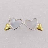 Luminous Hearts Stud Earrings Feito de ouro 18k banhado a ouro 925 Sterling Silver Fit European Pandora Style ALE Stud Jewelry Hot Sale