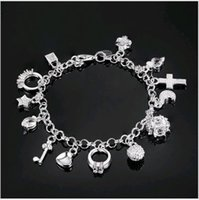 13pcs Pendants Charms Bracelet Prata 925 Plated Cross Key Star Ornamentos para mãos Link Chain 8inch long