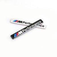 emblem m3 aufkleber großhandel-/// M Leistung M Power 85x12mm Motorsport Metall Logo Auto Sticker Aluminium Emblem Grill Abzeichen für BMW E34 E36 E39 E53 E60 E90 F10 F30 M3