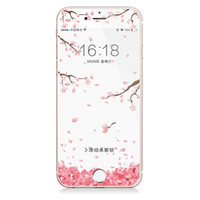Wholesale Cherry Phones - For iPhone 6 7 Plus Cherry Blossom series Carbon Fiber Membrane Screen Protector 3D Arc Edge Ultrathin Full Cover Phone Film Retail Package