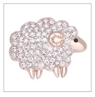 Wholesale Wholesale Crystal Brooches - Wholesale- Vintage Broche Strass Mujer Beautiful Crystal Sheep Brooch Rhinestone Animal Lapel Pin X1574
