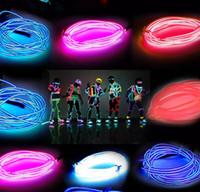 asas claras venda por atacado-3m luz neon fulgor el fio corda tubo carro bicicleta bar dance party transparente