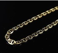 Wholesale Mariner Gold Chain - Men's 10K Solid Yellow Gold 2.5MM Flat Mariner Link Style Chain 16-24 Inches