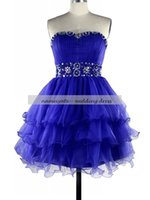 ingrosso vestito drappeggiato corto blu reale-Royal Blue Ball Gown Sweetheart Prom Dresses Rea Sample Lace-up Mini / Short strass senza maniche, abiti da cocktail drappeggiati