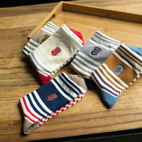 Wholesale striped gym socks resale online - The new style of art embroidery women cotton cotton tube socks Navy wind striped female socks