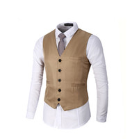 Wholesale High Fashion Vest Men - 2018 New Spring And Autumn Male Wedding Vest Pure Color 5 Color Formal Bussiness Vest Slim Fit High Quality