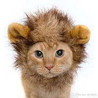 Wholesale Christmas Dog Scarves - Pet Cat Dog Emulation Lion Hair Mane Ears Head Cap Autumn Winter Dress Up Costume Muffler Scarf