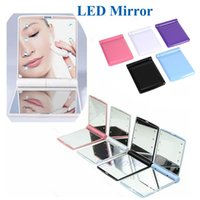 Wholesale Desktop Cosmetic Mirrors - Cosmetic Mirror LED Light Mirror Desktop Portable Compact 8 LED lights Lighted Travel Make up Mirror Flip Cover Mirror OTH312
