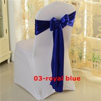 Wholesale Wholesale Fabric For Chair Covers - Royal Blue Satin Chair Sash Used For Wedding Spandex Chair Cover Free Shipping
