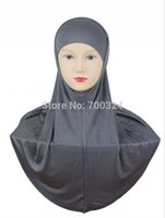 Wholesale Scarf Assorted - Wholesale- H755 simple plain two pieces cotton jersey muslim hijab,fast delivery,assorted colors