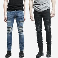 Wholesale Modern Rocks - Wholesale- fashion mens jeans hole pants ankle cool blue jogger damage jeans rock star High Quality Casual destroyed skinny ruched jeans