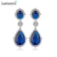 Wholesale Royal Blue Flower Earrings - LUOTEEMI Hot New Arriavl Luxury Teardrop Royal Blue Cubic Zircon Bridal Women Drop Earrings Brincos Weddings Accessories Jewelry