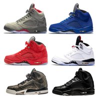 Wholesale Rubber Field - 2018 5 V Premium Heiress Camo Metallic Field Triple Black Red blue Suede White Cement men Basketball Shoes 5s sports shoes Sneaker