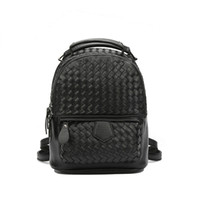 Wholesale College Korean Backpack - 2017 new woven PU mini shoulder bag female Korean version simple simple color wild college wind backpack low price for sale