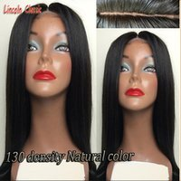 Wholesale Human Real Wig - !Free Shipping Virgin Peruvian 100% Real Human Hair Silky Straight Full Lace Wig   Lace Front Wig 130%-150% Density in stock