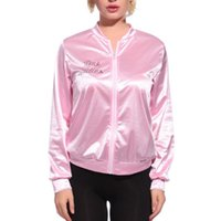 Wholesale Ladies Dress Jackets Wholesale - Wholesale- Halloween Pink Women Basic Coats Solid Tracksuit for Women Jacket Lady Retro Jacket Women Fancy Dress Grease Costume