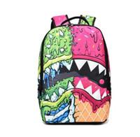 Wholesale Gold Teeth Styles - Shark tooth backpack Sprayground design daypack Street schoolbag Spray ground rucksack Sport school bag Outdoor day pack