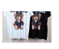 Wholesale Women Top Stars - 2017 Harajuku Couples Clothes Print 2017 new fashion Bear tee tops star hat For men women brand tee free shipping famous