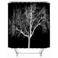 Wholesale Tree Print Curtain - Wholesale- SenHome 180X180cm Latest Design Black Snow Big Tree Printed Polyester Shower Curtain Bathroom Curtain Hot Selling