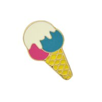 Wholesale Ice Cream Alloy - Luxury Gift Jewelry Shining Gold-Color with Colorful Enamel Cute Ice Cream Brooch Pins For Women Accessories