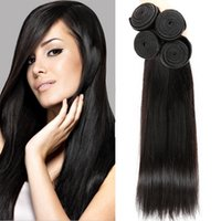 Unprocessed Straight Brasileiro Indiano Malaio Peruano Hot Sales Natural Preto Mongol Virgin Cabelo Humano Weave Extensões Natural Preto