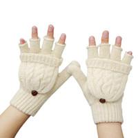 Wholesale Girls Fingerless Cotton Gloves - Wholesale- Women Girl Winter Warm Fingerless Gloves Covering Mittens Half Finger Gloves