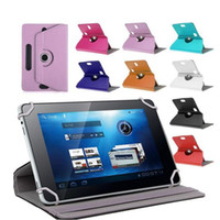 Wholesale Universal Inch Tablet Covers - Universal 360 degree rotationg tablet pu leather case stand back cover for 7-9 inch fold liop case with build in buckle