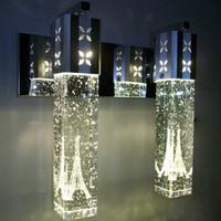 lámparas de pared espejo al por mayor-LED Crystal Bubble Lámpara de pared Crystal Cylinder Forma Columna Living Room Lámpara de pared Mirror Light RGB Warm White Lámpara de luz
