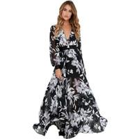 Wholesale Tropical Floor Length Dress - Wholesale- QL336 Sexy Deep V-Neck Long-Sleeve Waist Belt Chiffon Tropical Print Maxi Dress NTSMSS