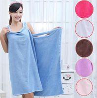 Wholesale Shower Robes - Magic Bath Towels Lady Girls SPA Shower Towel Body Wrap Bath Robe Bathrobe Beach Dress Wearable Magic Towel 9 color KKA1584