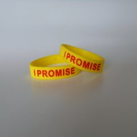 Wholesale I Promise - 50PCS High Quality I promise Debossed And Ink Filled red and black color rubber wristbands for gifts Y040802