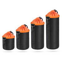 Wholesale Neoprene Camera Bag Case - thick shockproof lens bags neoprene SLR camera lens cases black S M L XL shock proof lens barrel storage drawstring bag with velvet