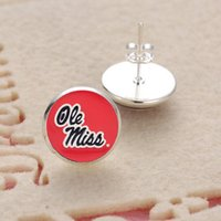 Wholesale Miss Pendant - 10Pairs Charm Sports Team NCAA Ole Miss Glass Stud Earrings Pendant Earrings For Women Jewelry Gift