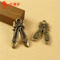 Wholesale Ballet Shoes Bracelet - 20*12MM Wholesale Antique Bronze ballet shoes charms for bracelet, metal dangle vintage pendants for necklace, handmade tibetan alloy charms