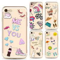 Wholesale Iphone Back 4s Style - For iphone 7 silicone painting case Cartoon life style TPU cases clear ultra thin back protective cover shell for iphone 6S 7 Plus 4S 5S