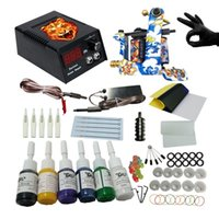 Wholesale Cheap Tattoo Kits For Beginners - Professional Tattoo Machine Set 1 Coils Guns 6 Colors Ink Power Supply Tattoo Kits for Beginner Permanent Tattoo Kit Cheap