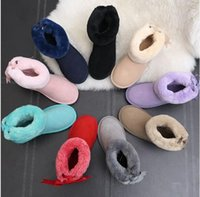 Wholesale Thick Warm Half Slips - Australia snow boots women short boots boots bow warm winter thick leather short children's shoes with women's plus cashmere sho