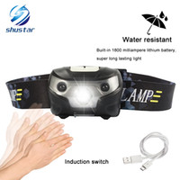 Wholesale Usb Motion - 3000LM Mini Rechargeable LED Headlamp 3000Lm Body Motion Sensor Headlight Camping Flashlight Head Light Torch Lamp With USB