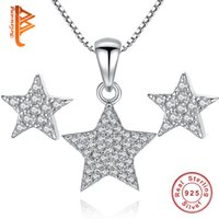 Wholesale Earrings Wishing - BELAWANG Wholesale 925 Sterling Silver Jewelry Set for Women Full of Clear CZ Crystal Wish Star Pendant Necklace&Star Earrings Wedding Gift