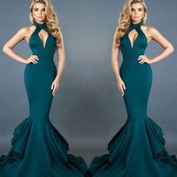 Wholesale Teal Trumpet Dress - Hot 2017 Teal Mermaid Evening Dresses Halter Keyhole Neck Sexy Open Back Layer Ruffles Long Train Party Celebrity Red Carpet Gowns Prom