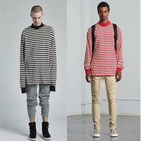 Wholesale stripe clothes online - Men Women High Quality Stripe Justin Bieber Clothes Long sleeves Fear Of God T shirts FOG Fashion T shirts Fear Of God