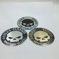 Wholesale 3d Motorcycle Tank - 20Pcs lot For Harley Skull Logo Motorcycle Fule Tank Emblem Badge Sticker Motor Cycle Decoration