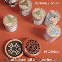 Wholesale Fragrance Jasmine - wholesale 2hours 48coils incense coil jasmine aroma fragrance home with PVC box sandalwood incense