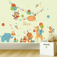 Wholesale Girl Posters - Cartoon Animals Birthday Party Wall Stickers for Kids Boys Girls Room Decor Air Balloon Cake Gift Party Wall Graphic Poster Wall Decals