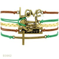 (10 PCS / Lot) Infinity Love Cross Anchor Charm Bracelets Acredite Love For Women Jóias Masculinas Brown Blue Leather Wrap Bracelets