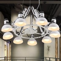 ingrosso luci per uffici industriali-Lampade a sospensione LED Modern Spider Lampade a sospensione Black White Spider Fixture 6/9/12 Lamps Industrial Restaurant Office Working Shop Cafes Light