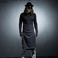 Wholesale Sleeve Extra Long Shirt - Wholesale- Mens extended t shirt Long sleeve Black White Rock punk Extra long top Night club clothes